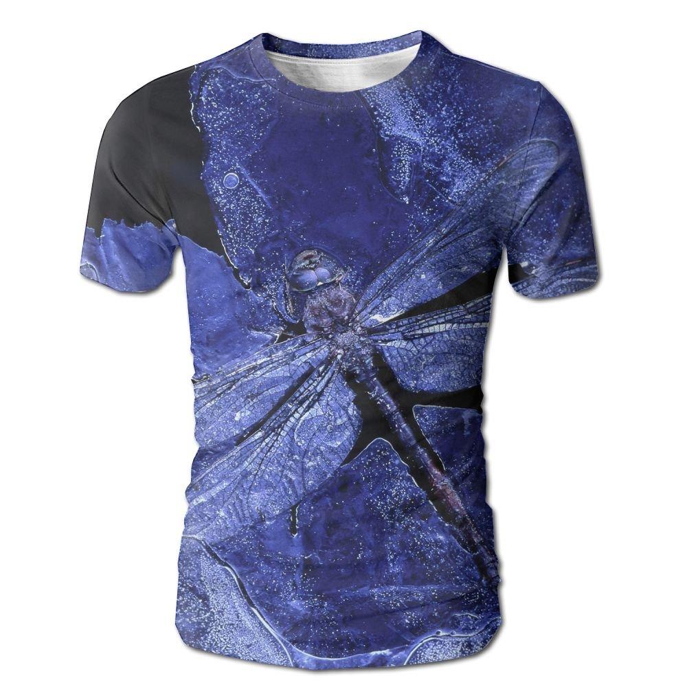 XIA WUEY Dragonfly Print MensSoft Baseball Tshirt Graphic Tees Tops For Gym