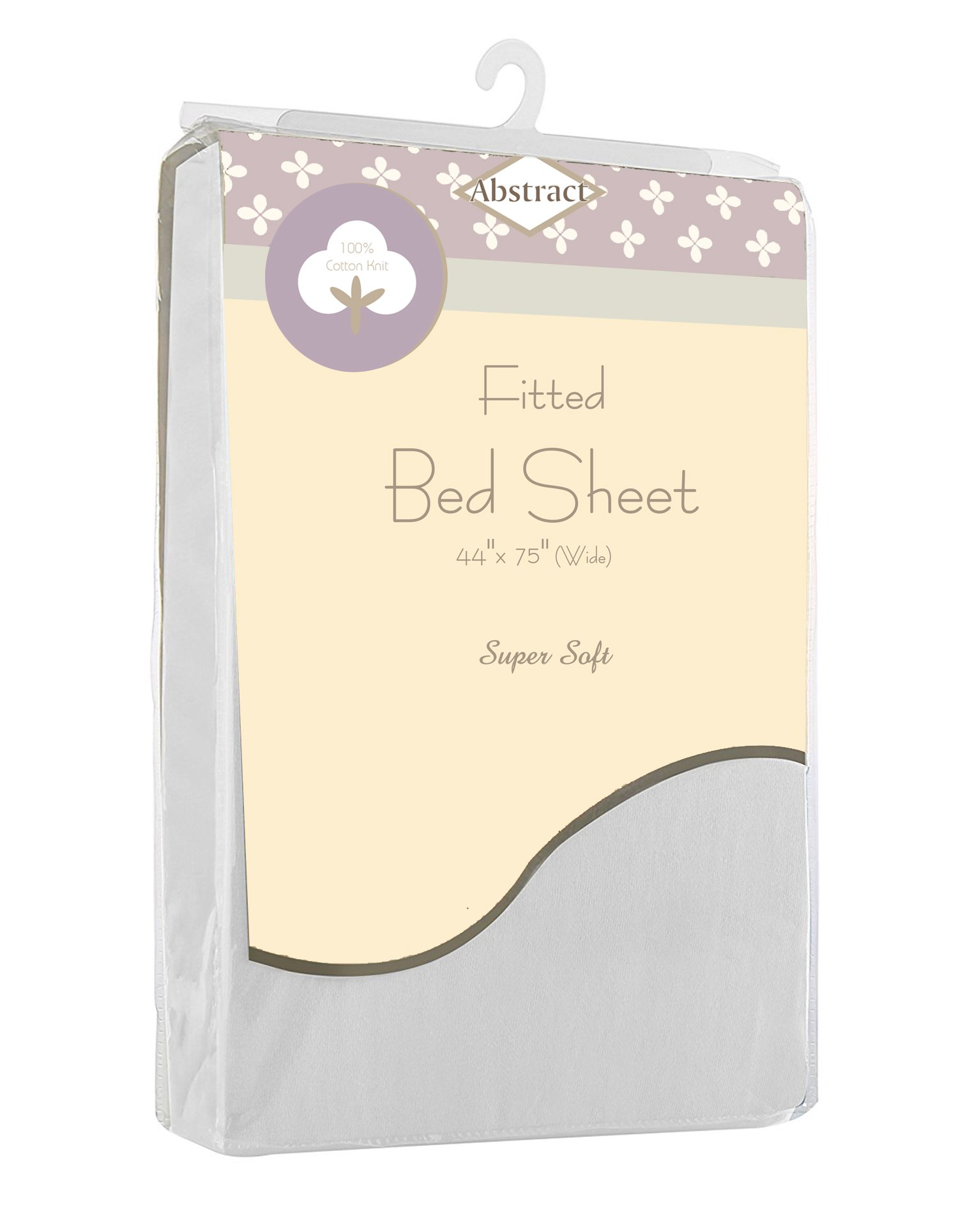 Fitted Bed Sheets Soft Jersey Comfort Deep Pocket for Cot and Twin Mattresses by Abstract (44'' x 75'', White)