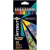 BIC Intensity Triangle Lápices de Colores, Mina de 1,3 mm, Resina sin Madera, Resistente a los Golpes - Colores Surtidos…