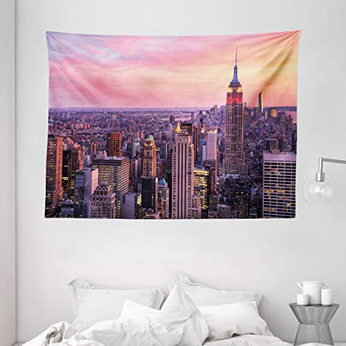 Ambesonne Cityscape Tapestry, New York City Midtown with Empire State Building Sunset Business Center Rooftop Photo, Wide Wall Hanging for Bedroom Living Room Dorm, 80 X 60 , Peach Purple