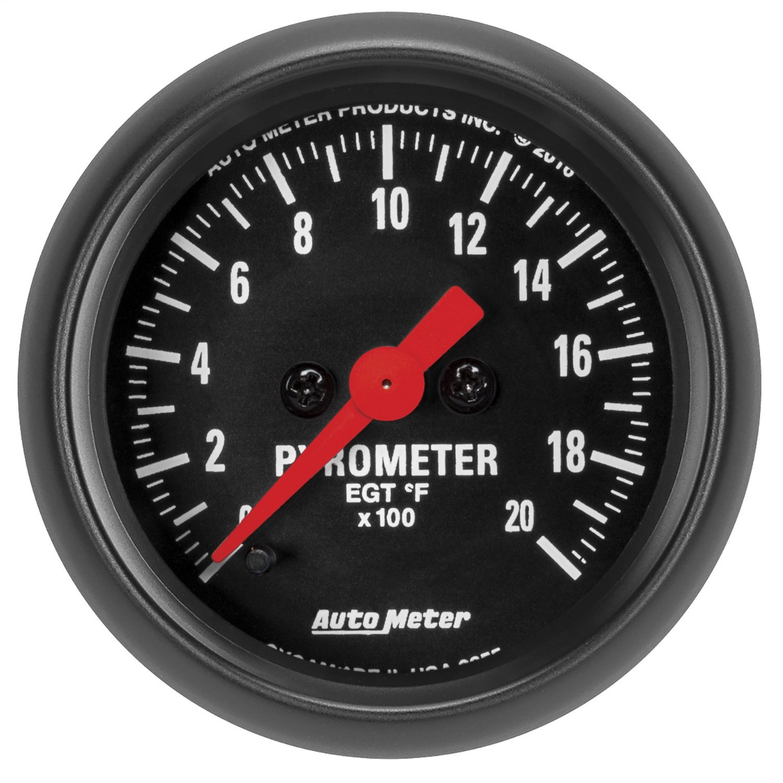 AutoMeter 2655 Z-Series Electric Pyrometer Gauge 2-1/16 in. Black Dial Face Fluorescent Red Pointer White Incandescent Lighting Digital Stepper Motor 0-2000 Degree F Z-Series Electric Pyrometer Gauge