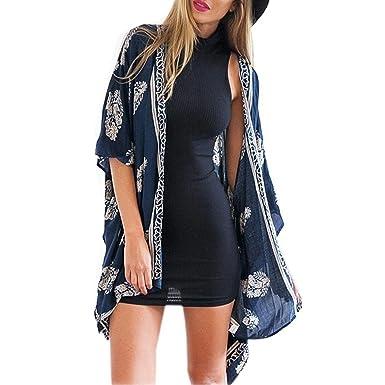 1afe5e304e Mingfa Women Ladies Retro Floral Open Front Long Kimono Cardigan Beach  Cover up Coat Top Blouse  Amazon.co.uk  Clothing