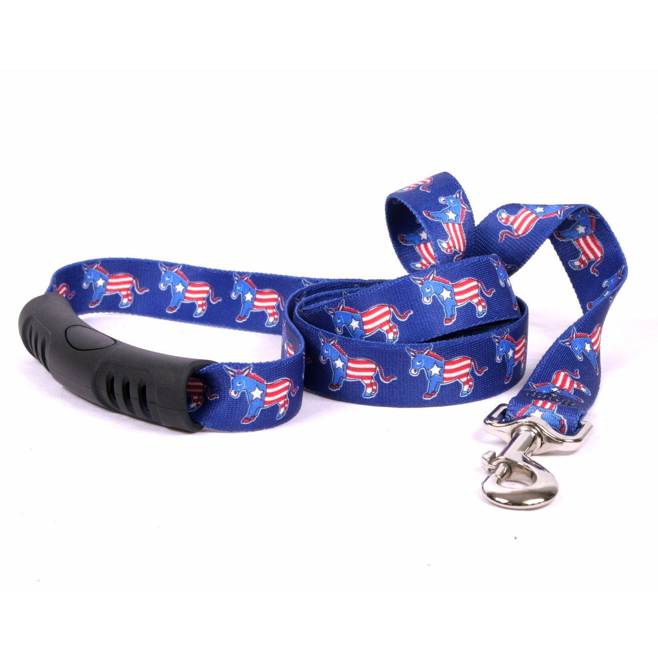 Yellow Dog Design Dem Donkeys Ez-Grip Dog Leash with Comfort Handle 3/4'' Wide and 5' (60'') Long, Small/Medium