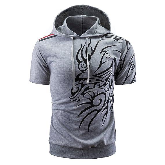 Camisa deportiva de hombres,Manga corta con capucha de hombres Sudadera con capucha Camiseta de estampada Camisetas hombre originales Chaqueta para hombre: ...