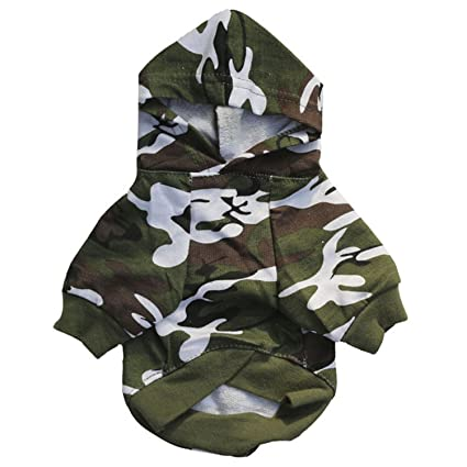 HuoGuo Pet Dog Clothes For Small Dogs Camouflage Hooded Sweatshirt Dog Coat Jacket Costume For Puppy