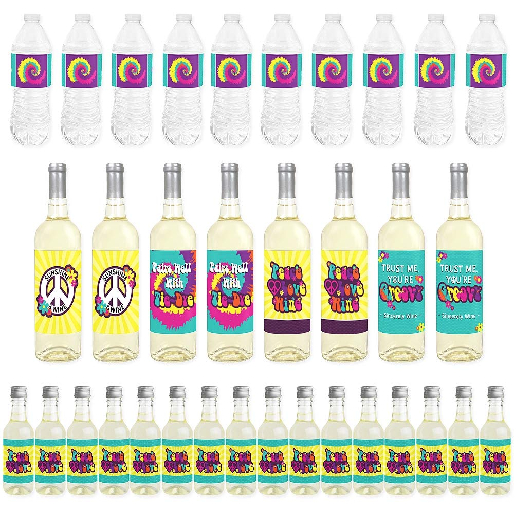 Big Dot of Happiness 60's Hippie - Mini Wine Bottle Labels, Wine Bottle Labels and Water Bottle Labels - 1960s Groovy Party Decorations - Beverage Bar Kit - 34 Pieces