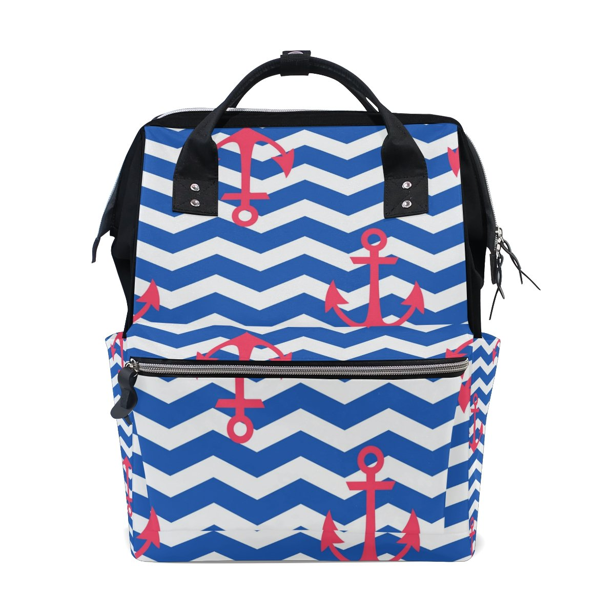 ALIREA Nautical Pattern With Anchors Diaper Bag Backpack, Large Capacity Muti-Function Travel Backpack
