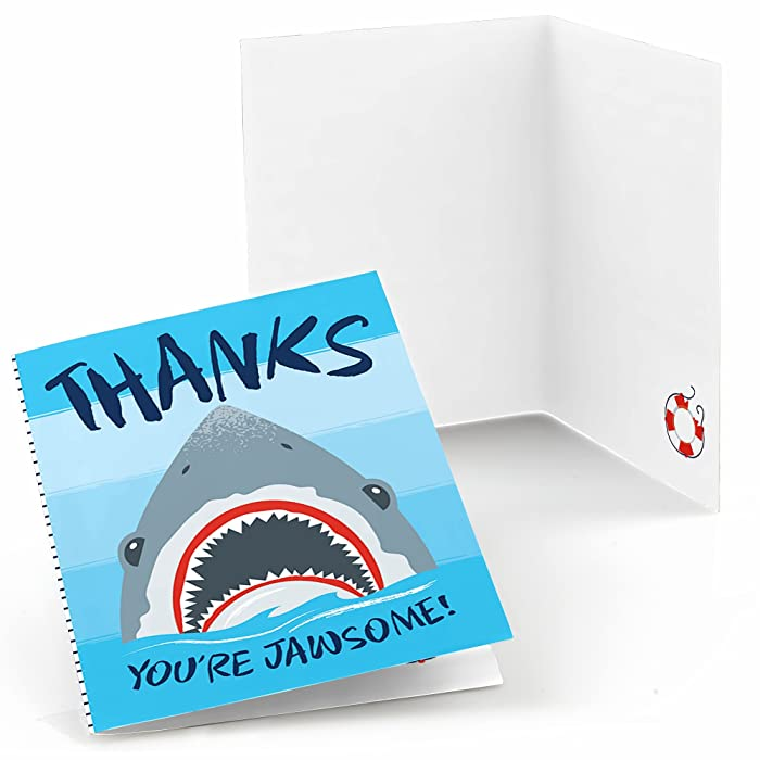 Big Dot of Happiness Shark Zone - Jawsome Shark Party or Birthday Party Thank You Cards (8 Count)