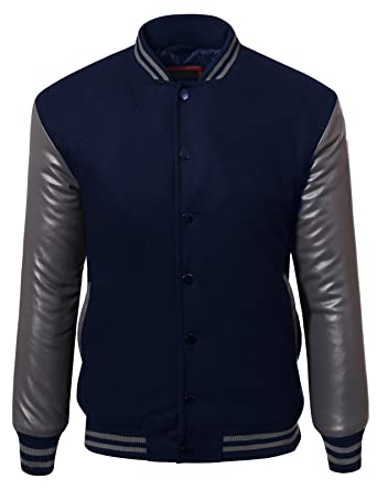 JD Apparel Men's Two Tone Premium Fabric Varsity Baseball Bomber ...
