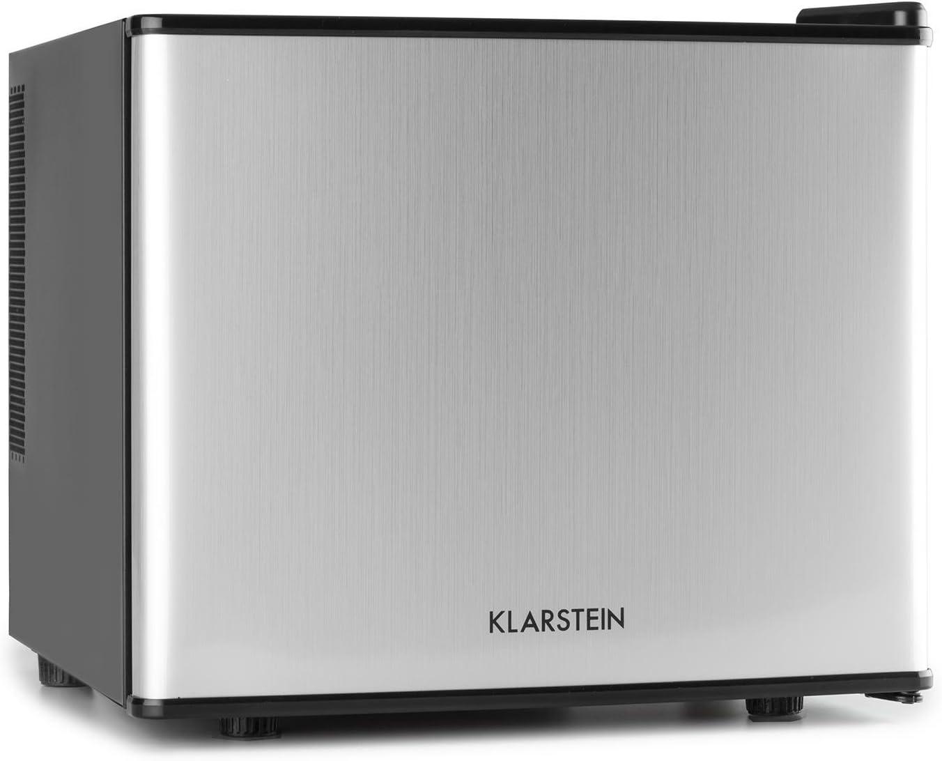 Klarstein Geheimversteck - Minibar, Mini nevera, Nevera para bebidas, Clase A+, 17 Litros, 38,5 x 33,5 x 41,5 cm, Silenciosa, Regulador de temperatura continuo, Ahorro de espacio, Plateado