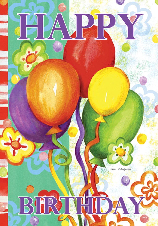 Toland Home Garden Birthday Bash 12.5 x 18 Inch Decorative Colorful Happy Balloon Party Garden Flag