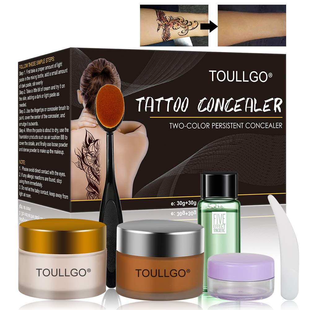 Tattoo Concealer, Pro Concealer, Tattoo Concealer Waterproof, Concealer Makeup, Cream Concealer, Professional Waterproof Concealer Set to Cover Tattoo/Scar/Birthmarks/Vitiligo, TWO-COLOR by TOULLGO