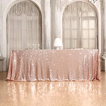 Sequin Tablecloth, Eternal Beauty Rectangular Sequin Table Cloth for Party, Cake Dessert Sparkly Sequin Overlay (Rose Gold, 60x126-inch)