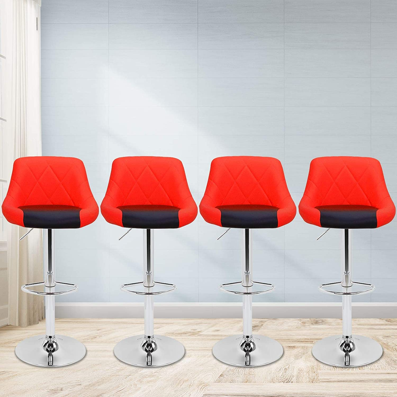 Magshion Faux Leather Bar Stools Adjustable 360 Degree Swivel Backrest Footrest Barstool Set of 4 Style02-Red Black