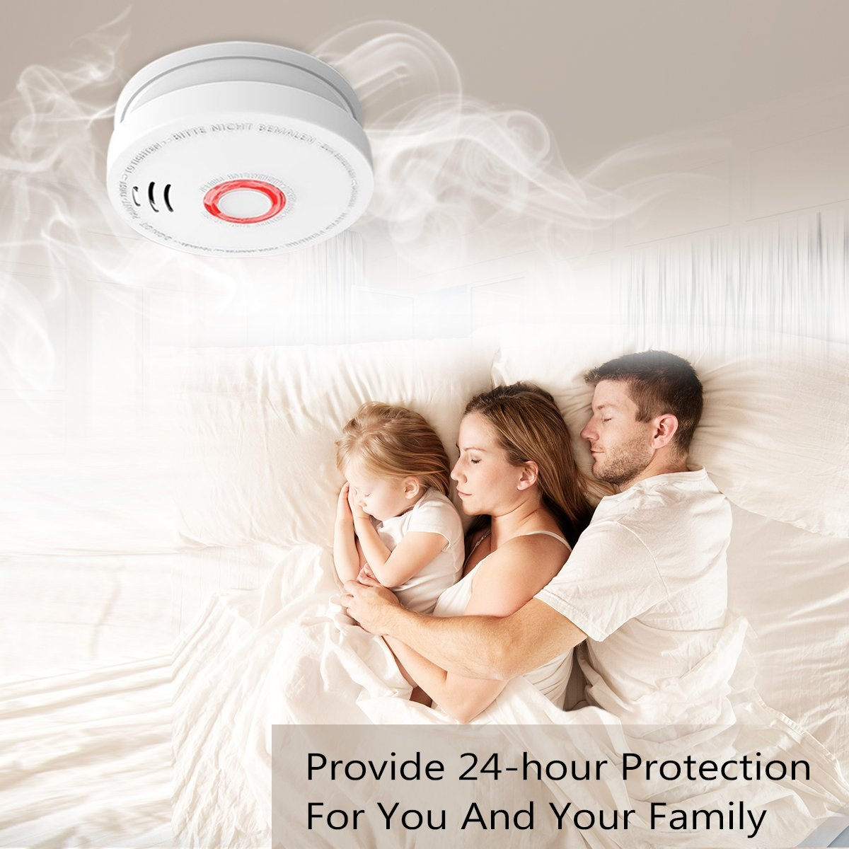 Smoke Alarm Fire Alarm Smoke Detector with Test Button 9 Volt Battery-Operated Photoelectric Smoke Alarms for Bedroom,Kitchen,Corridor,Bathroom and Hotel,10 Years 2 Pack Smoke Alarm with UL Listed by Askont (Image #4)