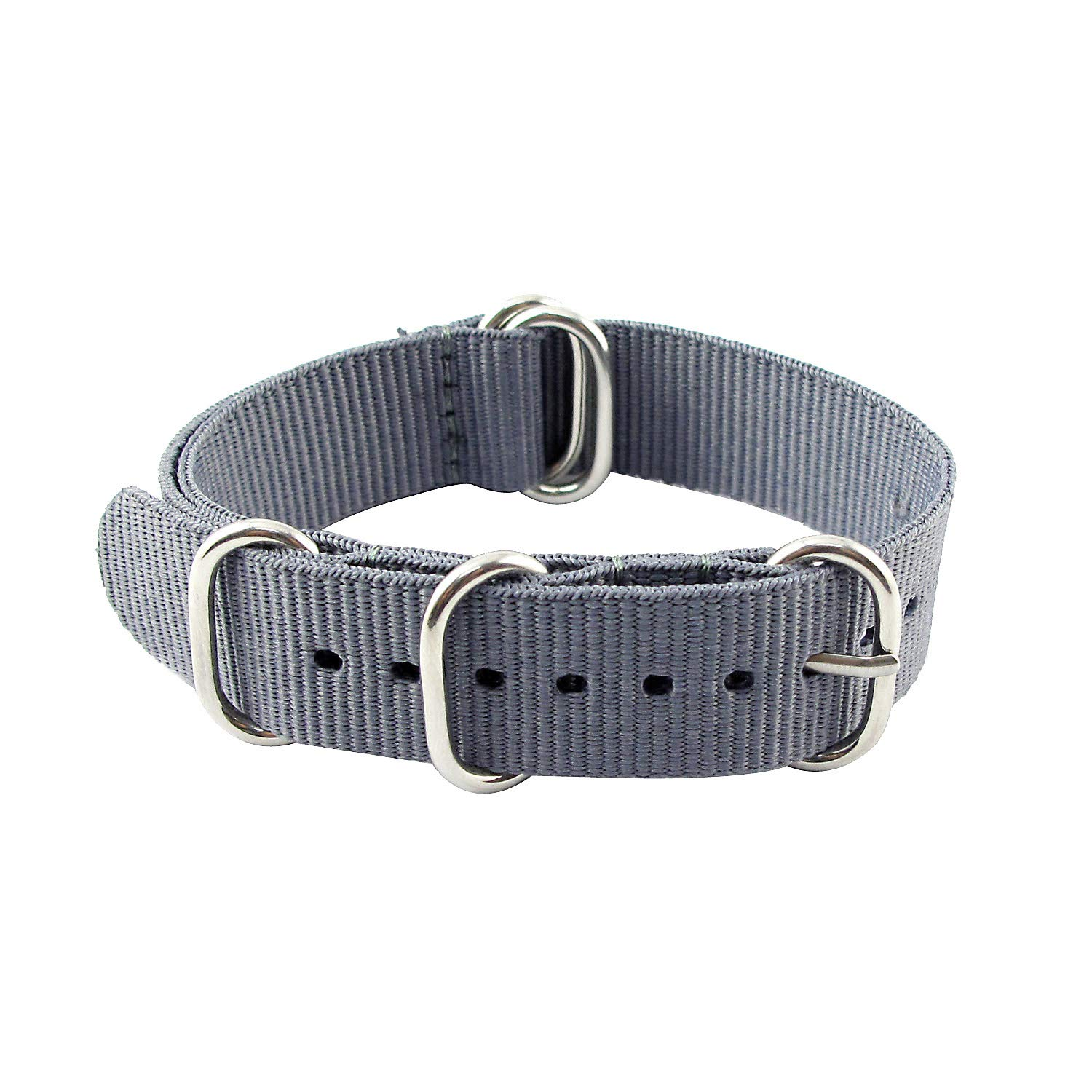 MapofBeauty Unisex 18mm/20mm/22mm Stainless Steel Pin Clasp Nylon Simple Fashion Watchband (Silver Gray Strap)