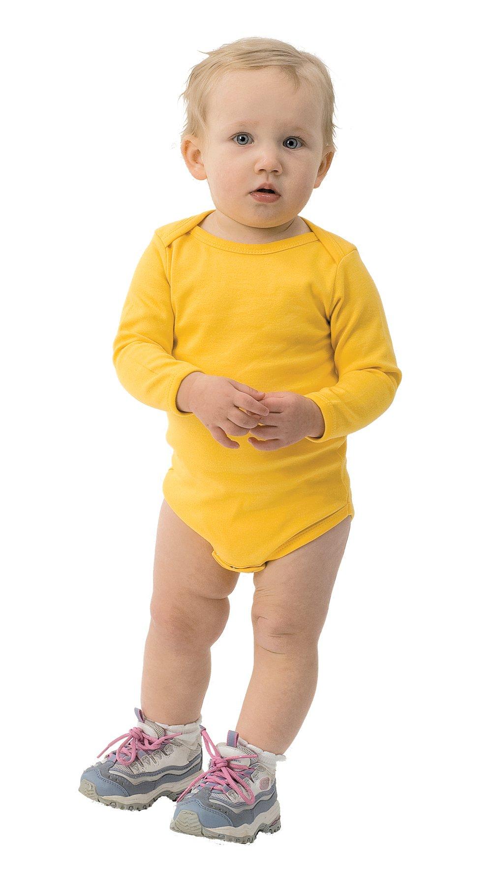 Monag Yellow Long Sleeve Bodysuit 6-12M Yellow by Monag (Image #1)