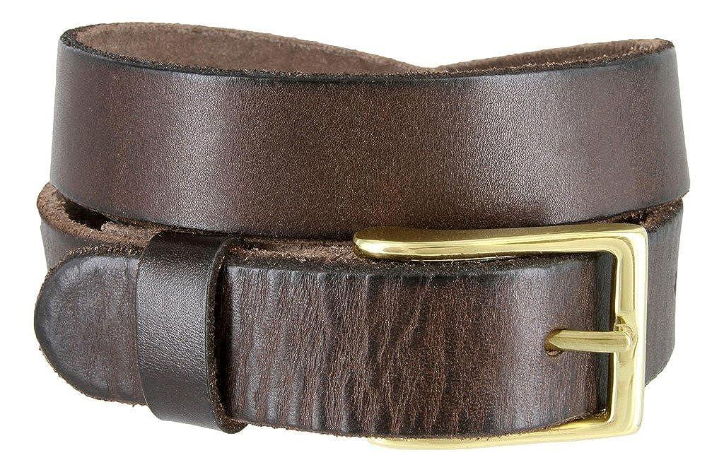 Full Grain 100/% Leather Casual Dress Brass Buckle Belt for Men