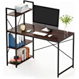 Bestier Computer Desk with Shelves 47 Inch, Reversible Writing Desk with Adjustable Storage Bookshelf Home Office Desk…