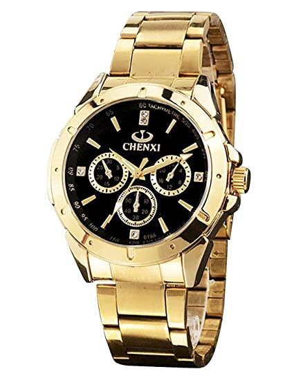 ShoppeWatch Mens Gold Watch IP Plated Chunky Metal Bracelet Big Black Dial Reloj de Oro Dorado