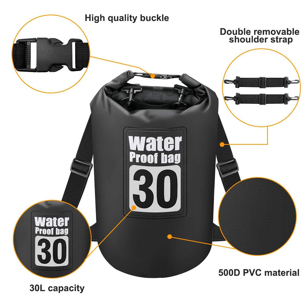 Powcan Borsa Impermeabile per attivit/à allAperto e Sport dAcqua Nave Campeggio Trekking Pesca Canoa Rafting Nuoto Sci -30L 100/% Impermeabile Dry Bag con Tracolla Regolabile Kayak