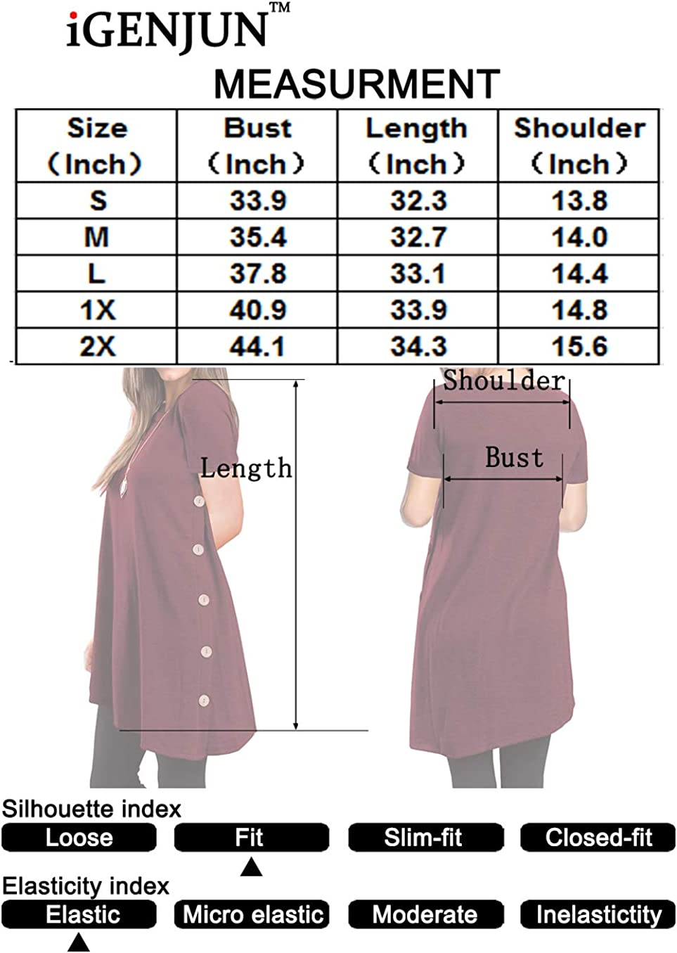 iGENJUN Womens Long Sleeve Scoop Neck Button Side Sweater Tunic Dress