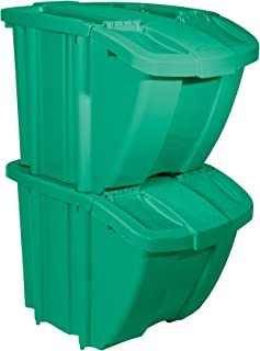 product image for Suncast 18 Gallon Recycle Bin Stackable Organizer Kit, Green