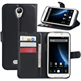 Doogee X6 Case, Doogee X6 Pro Cases, HualuBro [Kickstand] Premium PU Leather Wallet Flip Phone Case Cover with Stand Card Holder for Doogee X6 / Doogee X6 Pro Smartphone (Black)
