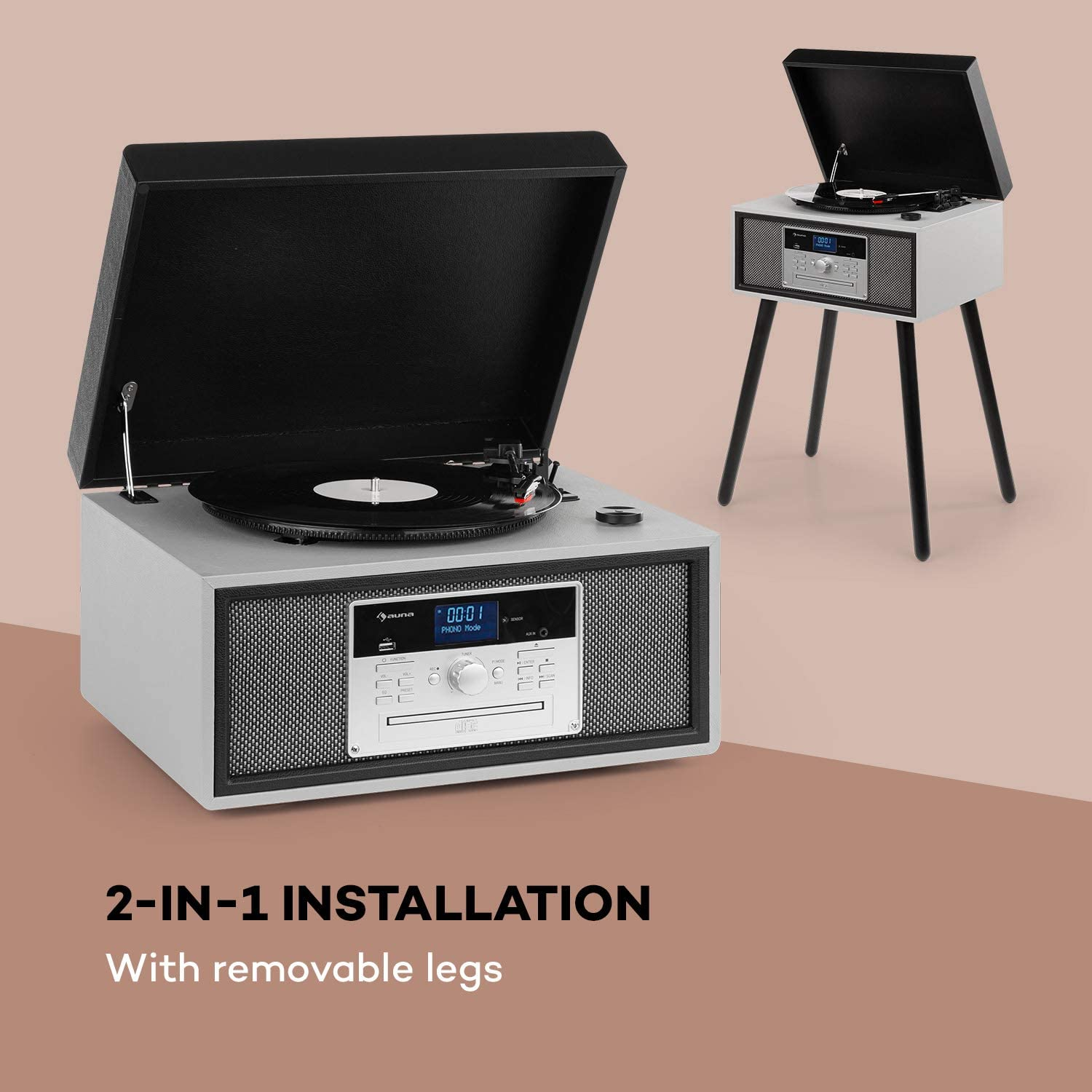 AUNA Mary Ann Record Player Retro Turntable DAB Radio 24W Maximum Player Bluetooth Function USB Port Stereo Speakers 20W and rpm Remote Control Black Grey