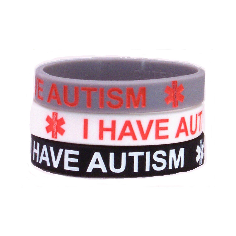 I Have Autism Medical Bracelet 3 Pack Classic Colors (7 Inches) Cute Medical Bracelets ATSM-3-CLASSIC