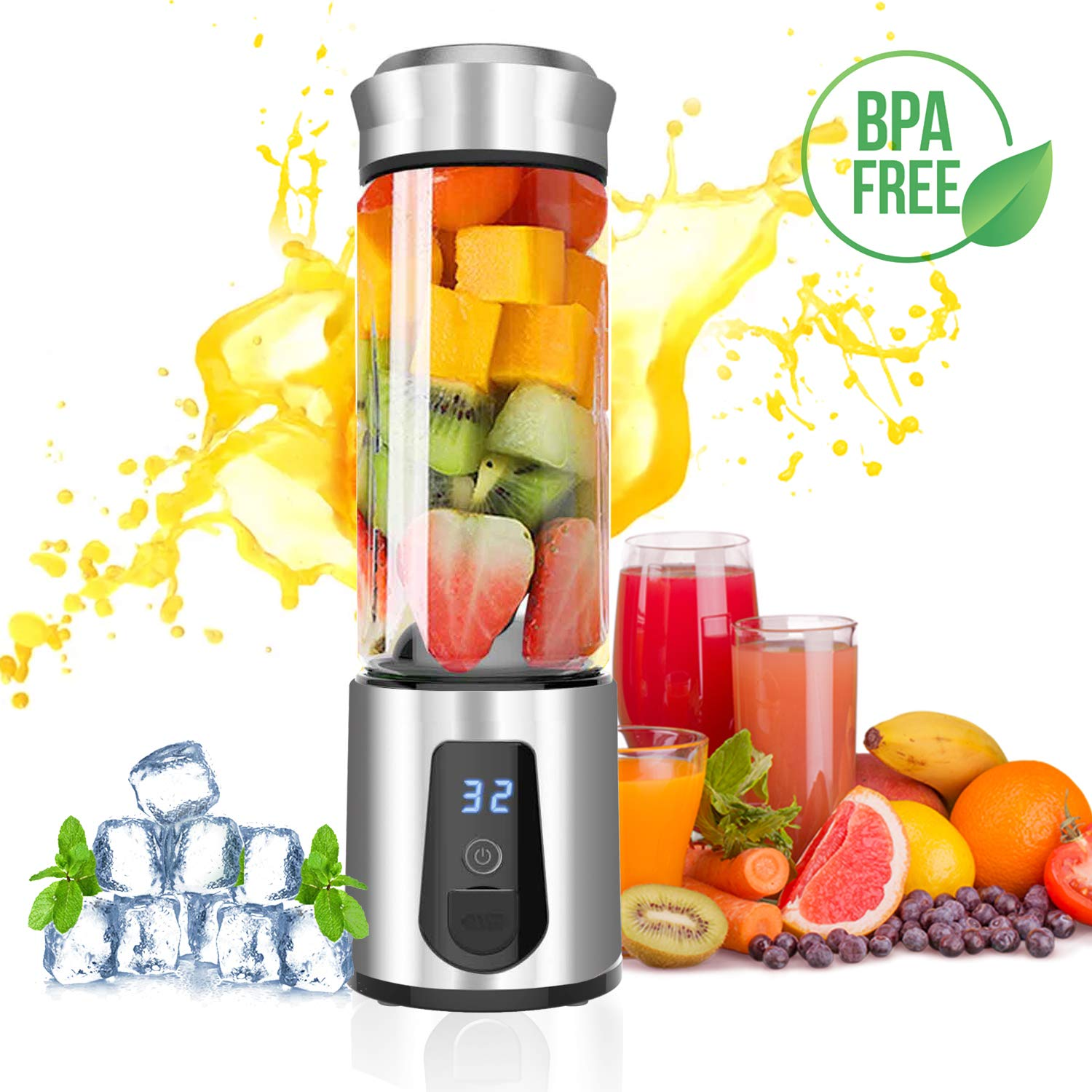 Personal Blender,AUZKIN Cordless Portable Blender Rechargeable USB Juicer Blender Small Blender – Juice,Shakes,Smoothies,Baby Food on the go Outdoor Travel Office,Borosilicate Glass,BPA Free,15OZ