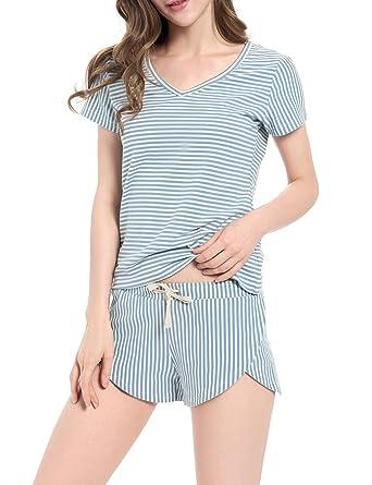a43f896d52c4 NORA TWIPS Women's Cotton Pyjama Set, Women's 2 Pieces Pyjama Set, Women's  Short Pajamas