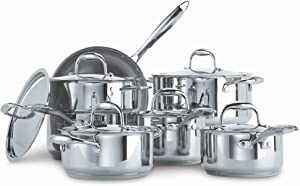 PADERNO Canadian Signature 13-Piece Stainless-Steel Clad Cookware Set | Kitchen Pots and Pans Set with Covered Steamer