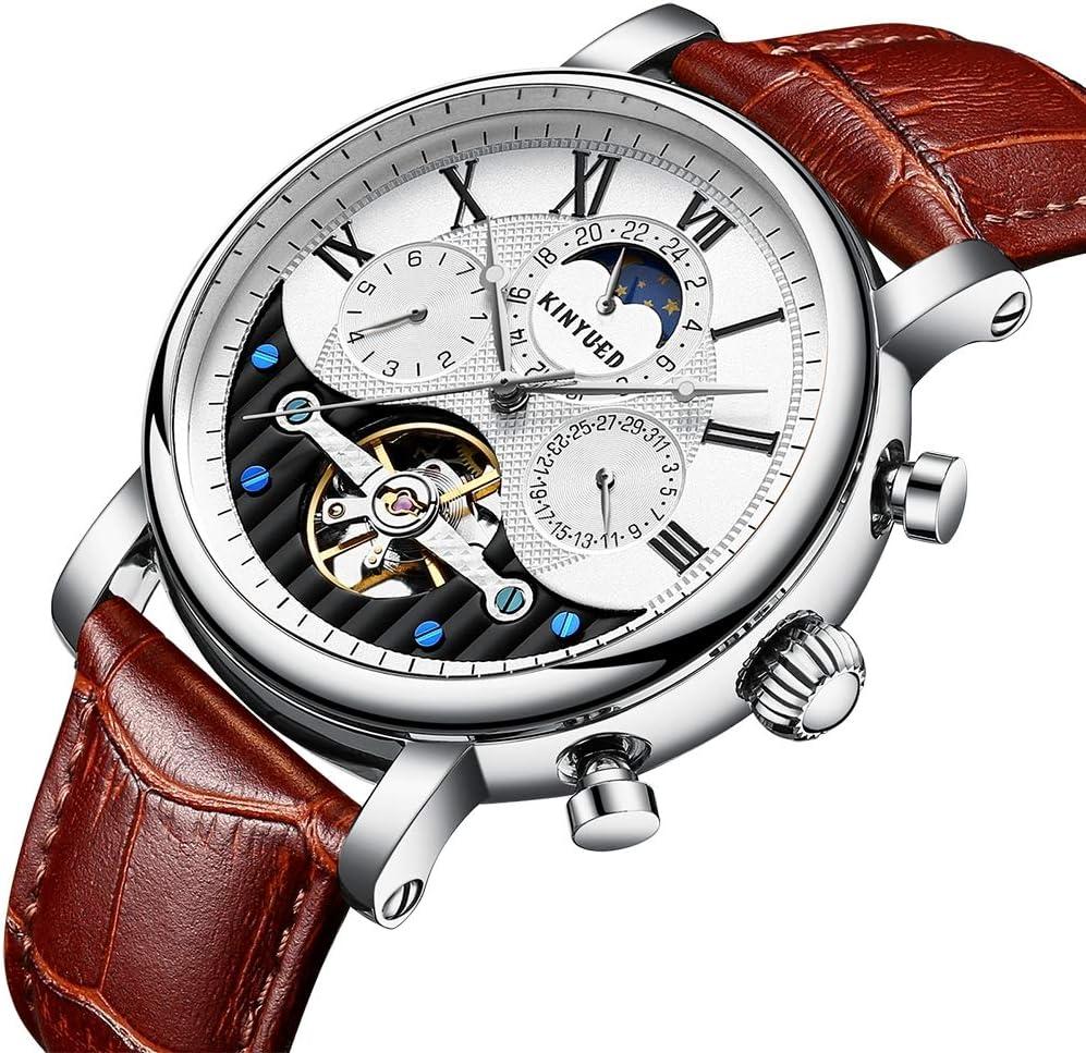 PRTQI Estrellas maquinaria Hueco Relojes Hombres 30m Vida Impermeable Deporte Reloj Luminoso Hombres Fecha Negocio mecánico Reloj de Pulsera día de Fiesta Presente