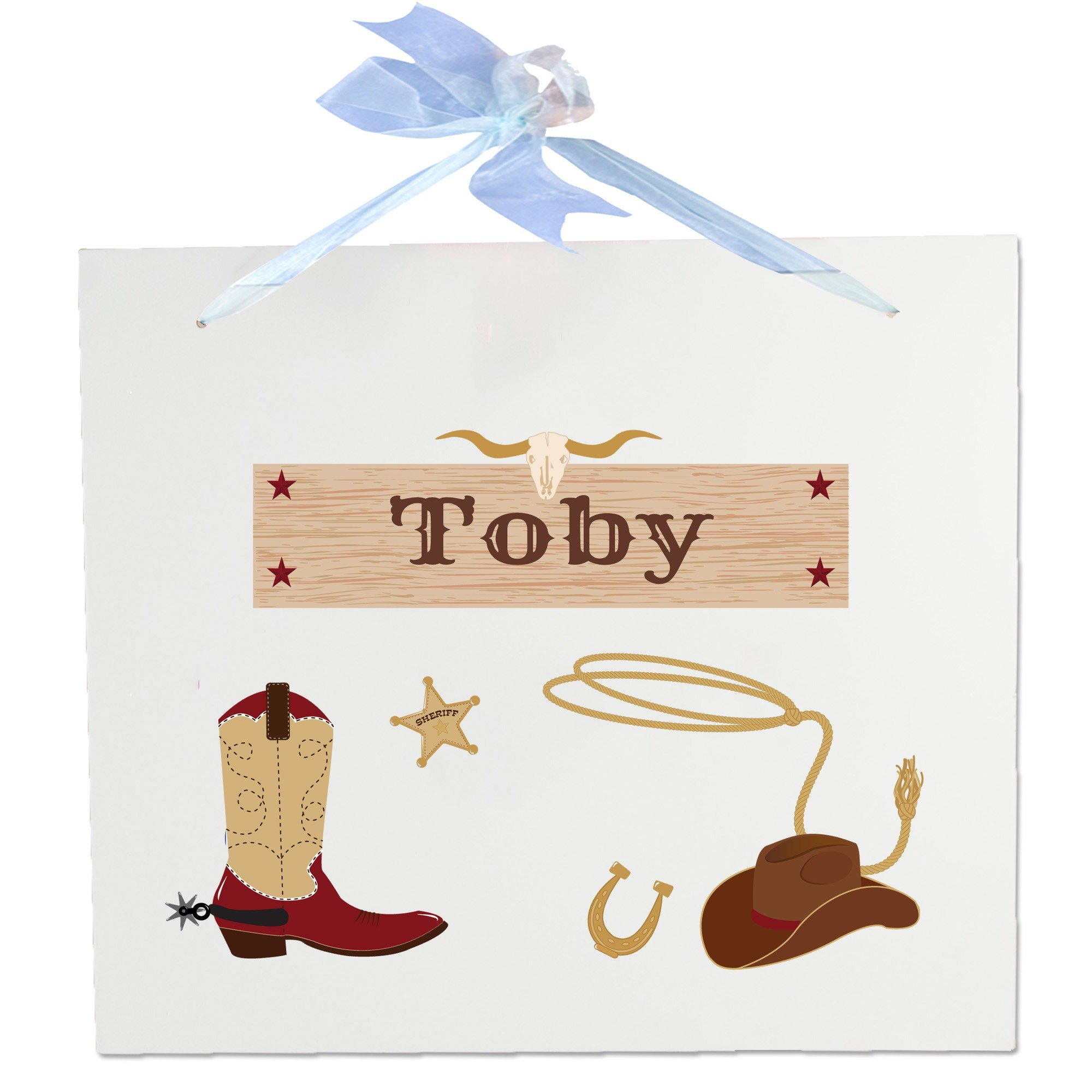 Personalized Wild West Wooden Wall Hanger With Blue Ribbon