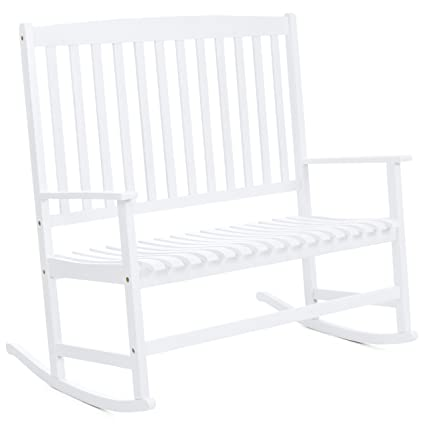 Best Choice Products 2 Person Rocking Chair W/Contoured Seat (White)