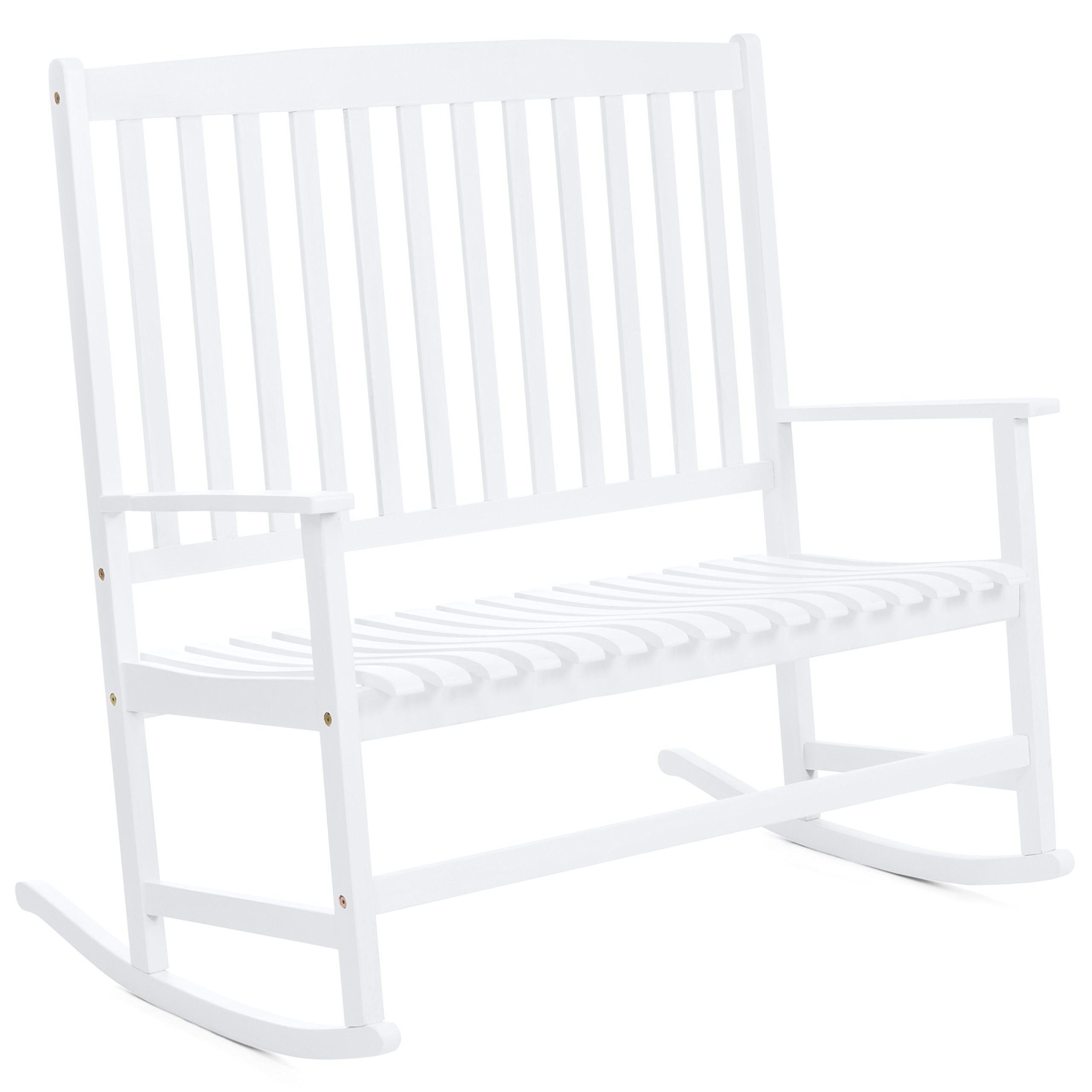 Best Choice Products 2-Person Rocking Chair w/Contoured Seat (White)