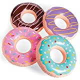 (4) 15 Inch Frosted Donut Shaped Inflatables - Blow Up Pool Party Favor Toys luau Novelty Items