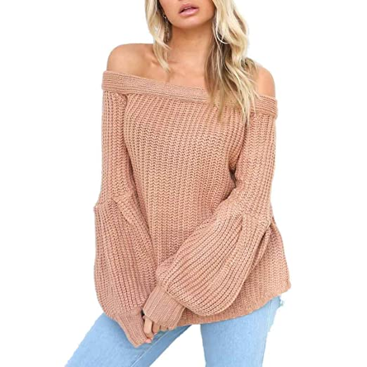 389e8cab008c HELIDA Women s Off Shoulder Long Puff Sleeve Loose Pullover Sweater Knit  Jumper at Amazon Women s Clothing store