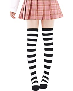 2b531ab4d67 DAZCOS Striped Stockings Over Knee Thigh High Socks Anime Preppy Socks  Multi Color