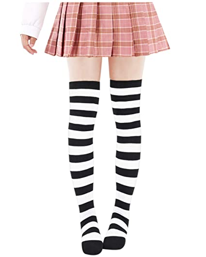 68ae04a7ffa Anime Multicolor Preppy Over Knee Mizore Shimakaze Stripe Stockings  (Black+White)