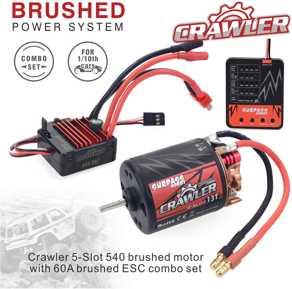 Innovateking 540 13T Brushed Motor 5-Slot RC Car Motor with 60A Brushed ESC Waterproof 6V/2A SBEC and and Programming Card Combo Set for 1/10 RC Crawler 71dHvSY09QL