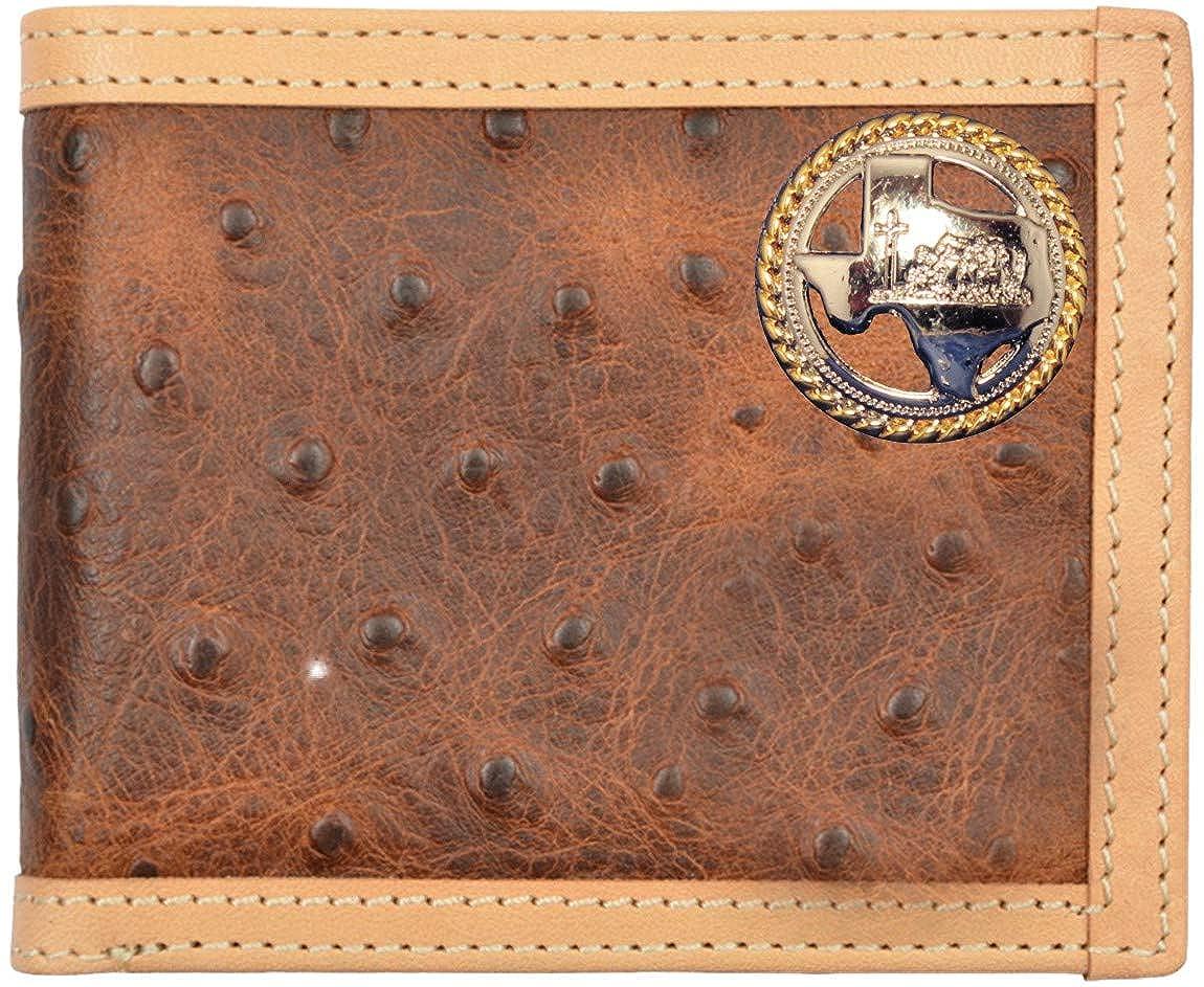 Custom Texas Cowboy Church Praying Cowboy Brown Ostrich Print Bi-Fold Wallet