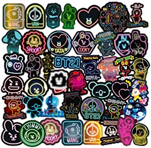 BTS 50 pcs/Pack NEON Stickers Variety Vinyl Car Sticker Motorcycle Bicycle Luggage Decal Graffiti Patches Skateboard Stickers for Laptop Stickers for Kid and Adult (BTS)
