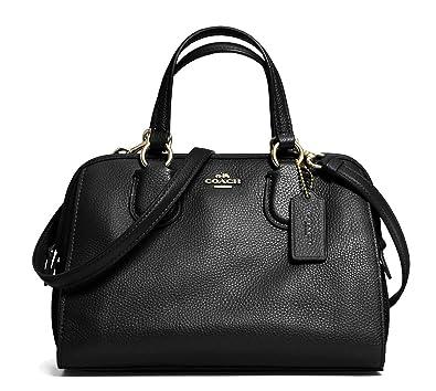 Amazon.com  Coach Womens Leather Pebbled Satchel Handbag Black Small  Shoes 8169ada2e