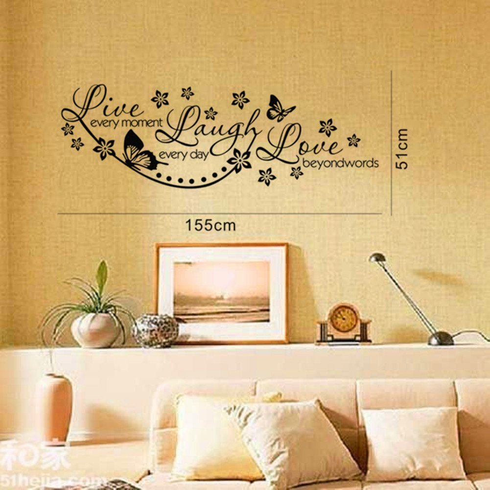 Olivia DIY Wall Decals Quotes with Butterflies Flowers - Live Every ...