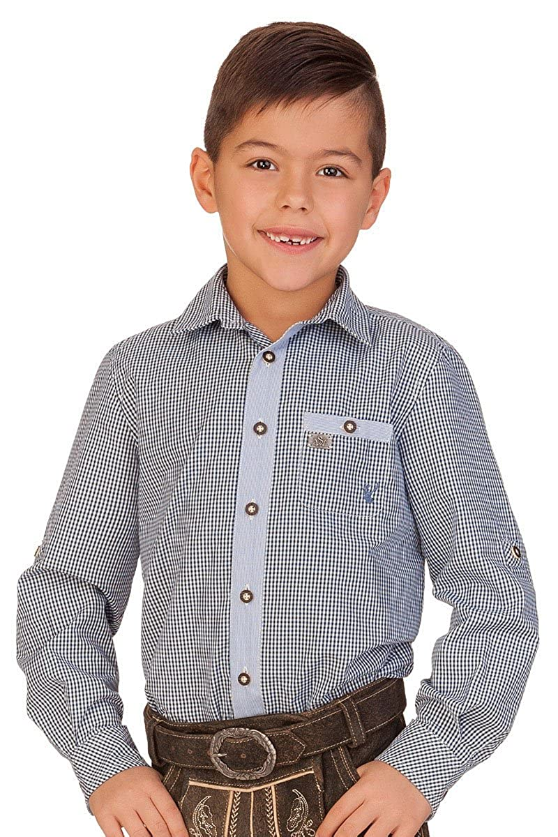 Spieth & Wensky Trachten Kinderhemd - Falke - Dunkelblau, Grün Grün