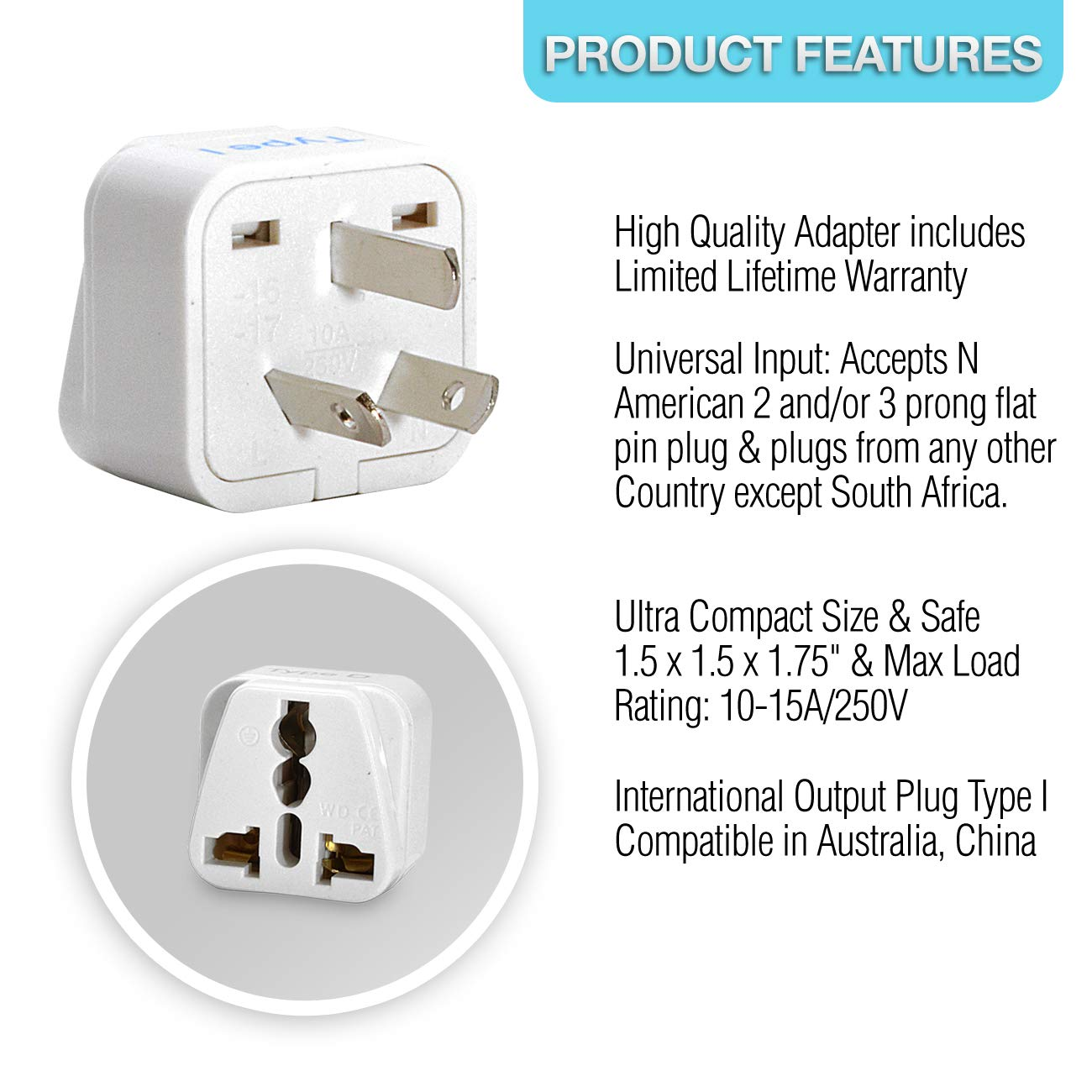 Ceptics Israel Travel Plug Adapter For Palestine 3 Prong Rv Wire Diagram Type H Pack Grounded Universal Gp 14 3pk Home Audio Theater