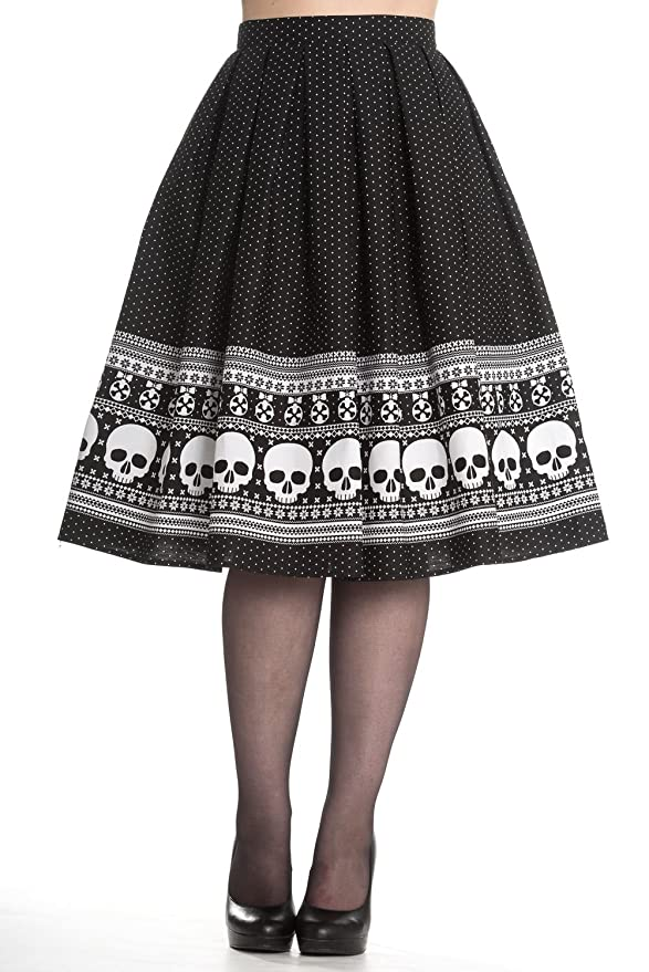 Vintage Retro Halloween Themed Clothing Hell Bunny Clara Rockabilly 50s Skull Skirt $51.98 AT vintagedancer.com