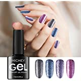 MICHEYGel Gel Nail Polish, Glitter Platinum Soak Off UV Gel Nail Set,Pack of 4 colors